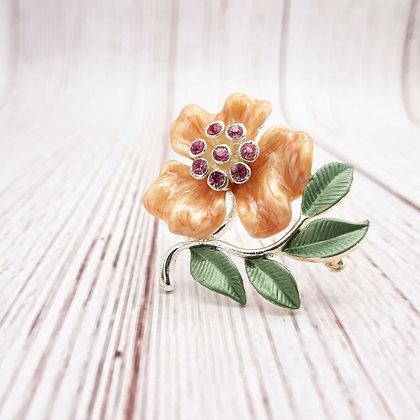 Vintage Enameled Flower Brooch