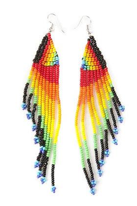 Pride & Joy Beaded Rainbow Fringe Earrings