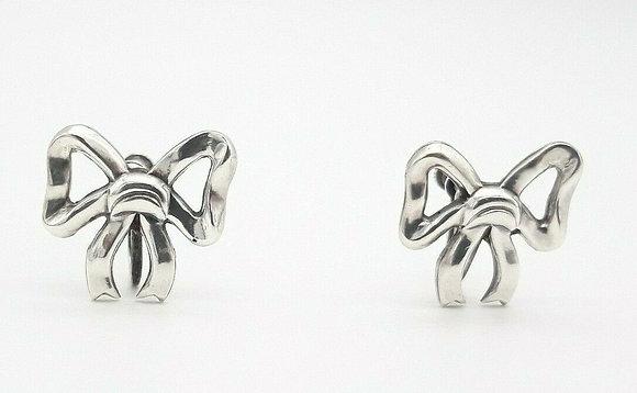 Sterling Silver Bow Tie Earrings