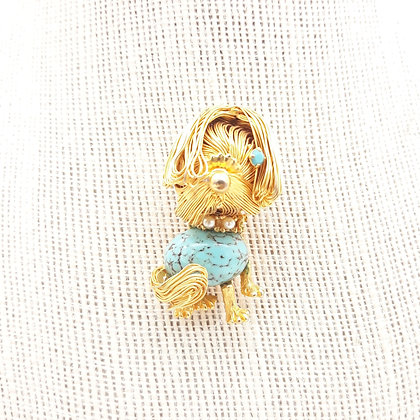 Vintage Golden Wire Shaggy Dog Brooch