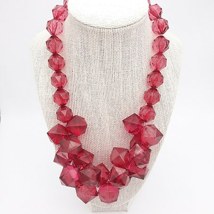 Vintage Raspberry Lucite Necklace