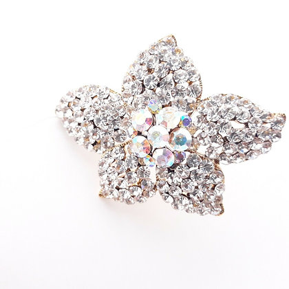 Vintage Crystal Pavé Flower Brooch