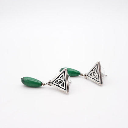 Celtic Knot and Malachite Earrings