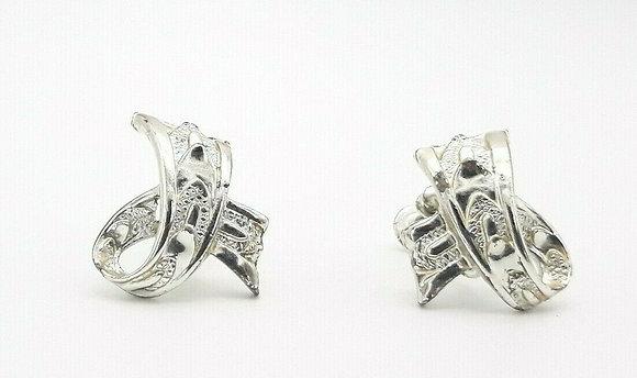 Vintage Silver Earrings Signed Star