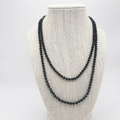 Double Strand Black Faceted Bead Necklace