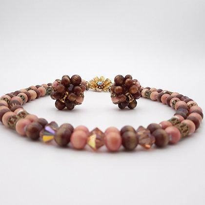 MCM Brown Art Glass Bead Multi-Strand Necklace & Earrings