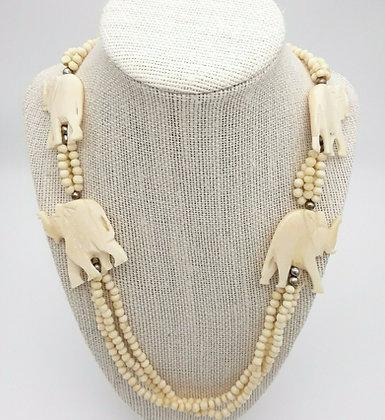 Vintage Beaded Carved Elephant Necklace