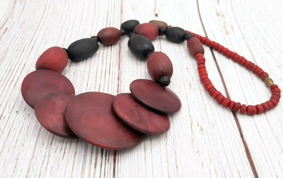 Statement Wood Disk Beaded Necklace