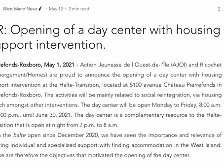 PR: Opening of a day center with housing support intervention.