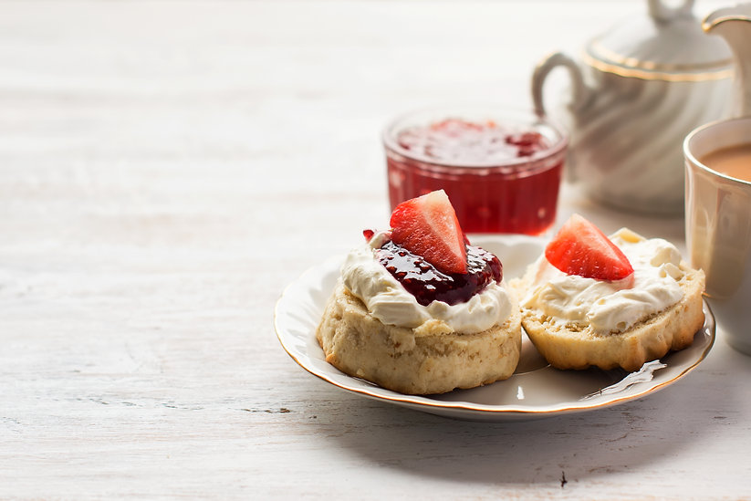 English tea with scones and clotted crea