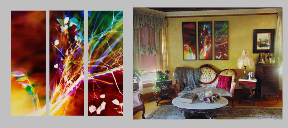 "Memento Mori, 48"" x 48"" (3 48"" x 16"" panels) , Living Room, Turlock, CA"