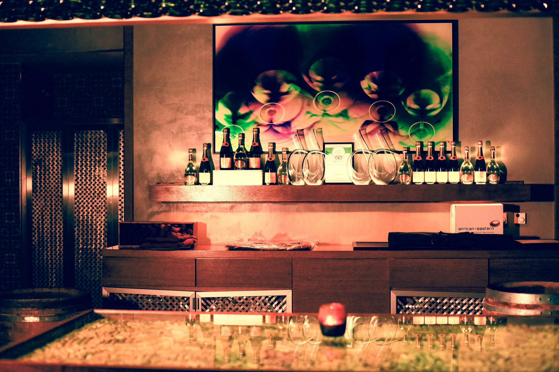 """Cheers, 30"""" x 48"""" - Installed at The Cave in Conrad Hilton Hotel, Dubai, U.A.E."""