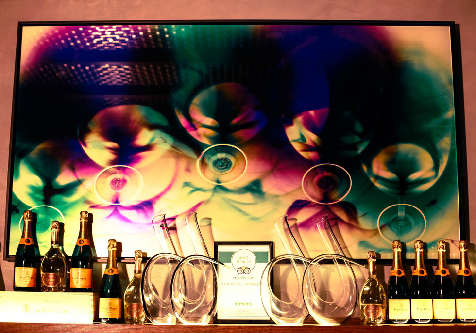 "Cheers, 30"" x 48"" - Installed in Cave at Conrad Hilton Hotel, Dubai, U.A.E."