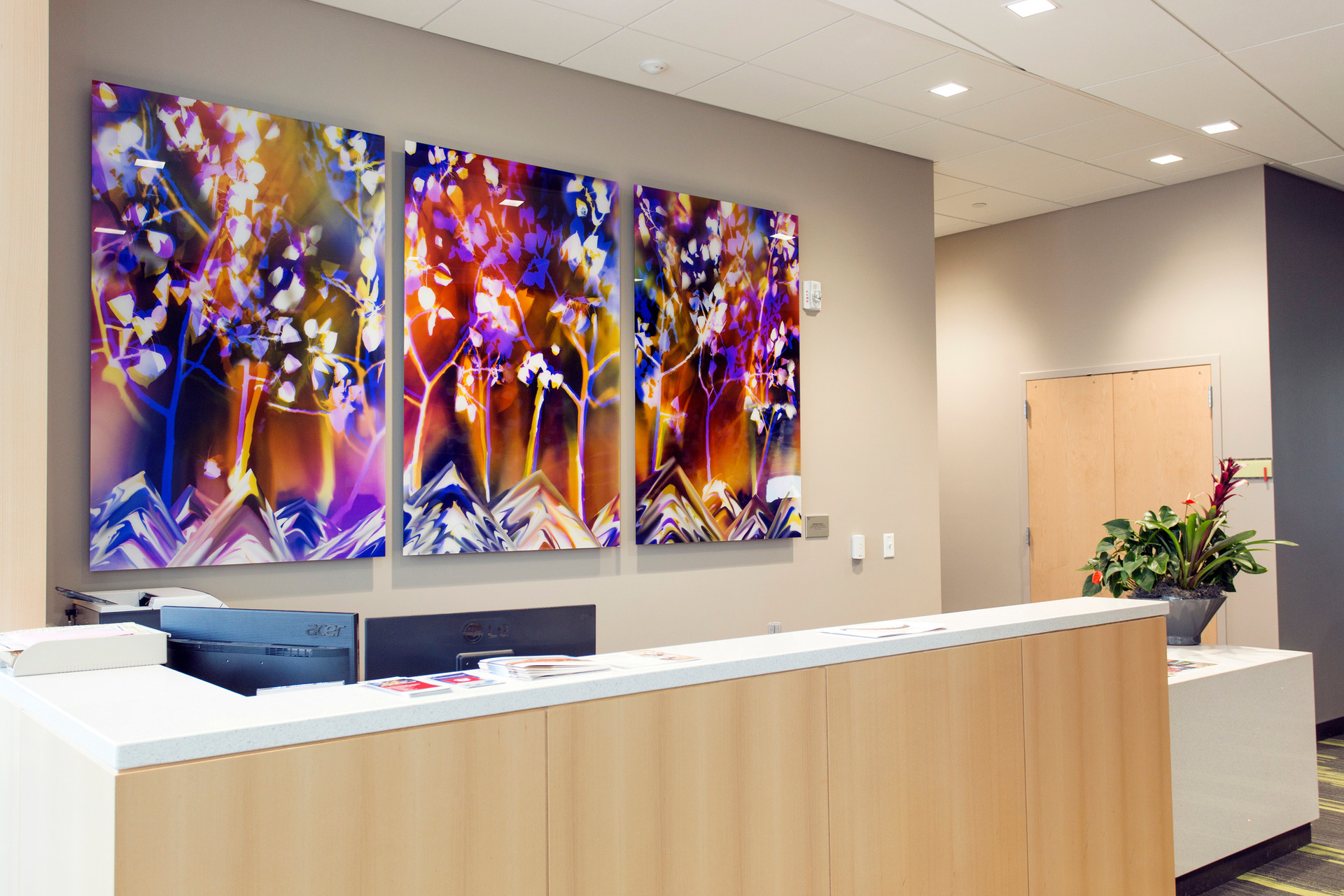 "Inspired by Nature: Pando, 60"" x 38"" (3 60"" x 114"" panels), Commission by Utah Public Art Program, Installed in Noorda School of Dentistry at University of Utah, Salt Lake City, UT"