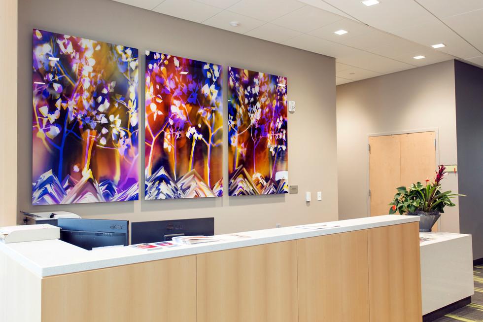 "Inspired by Nature: Pando, 60"" x 38"" (3 60"" x 114"" panels), Commission by Utah Public Art Program, Installed in Noorda School of Dentistry at University of Utah, Salt Lake City, UT"