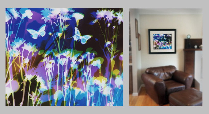 "Garden Life at Night, 20"" x 24"" - Living Room, Pacifica, CA"
