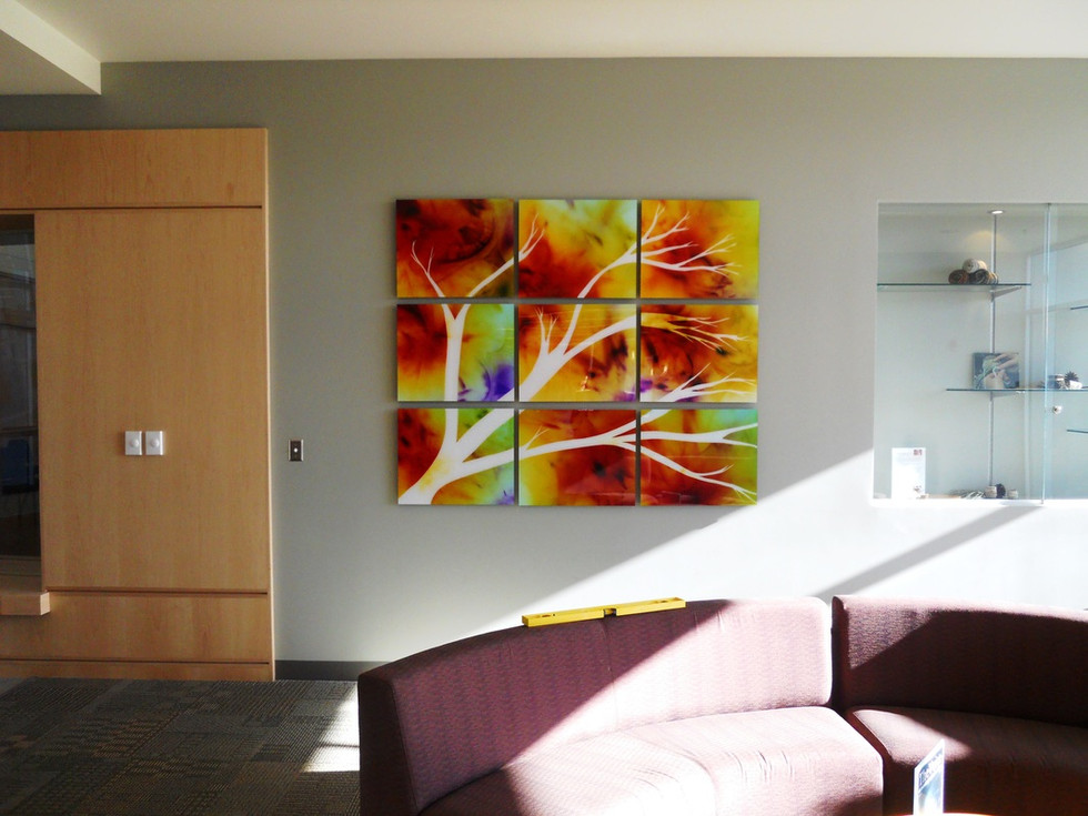 """Growth through All Seasons, 60"""" x 72"""" (9 20"""" x 24"""" panels), Installed in the Campus Center at Central Oregon Community College, Bend, OR"""