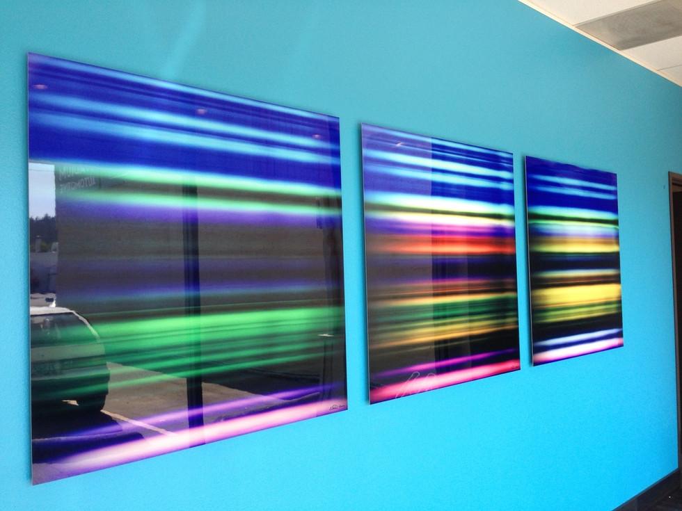 "Passing Landscape 1, Passing Landscape 4, Passing Landscape 15, 40"" x 40"" each, - Installed at University of Oregon, Eugene, OR"