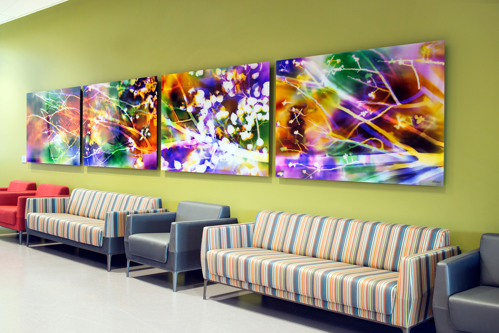 "Inspired by Nature: Seasons, 40"" x 240"" (4 40"" x 60"" panels), Commission by Utah Public Art Program, Installed in Noorda School of Dentistry at University of Utah, Salt Lake City, UT"