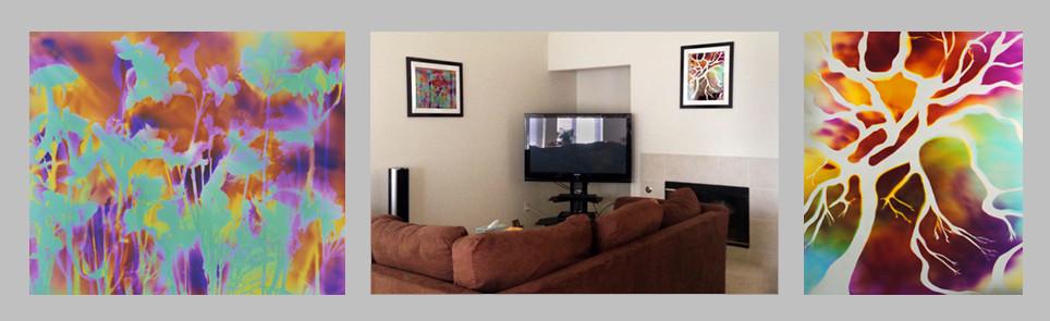 "Garden Trip, 16"" x 20"" & Tree of Life, 20"" x 16"" - Living Room, Turlock, CA"