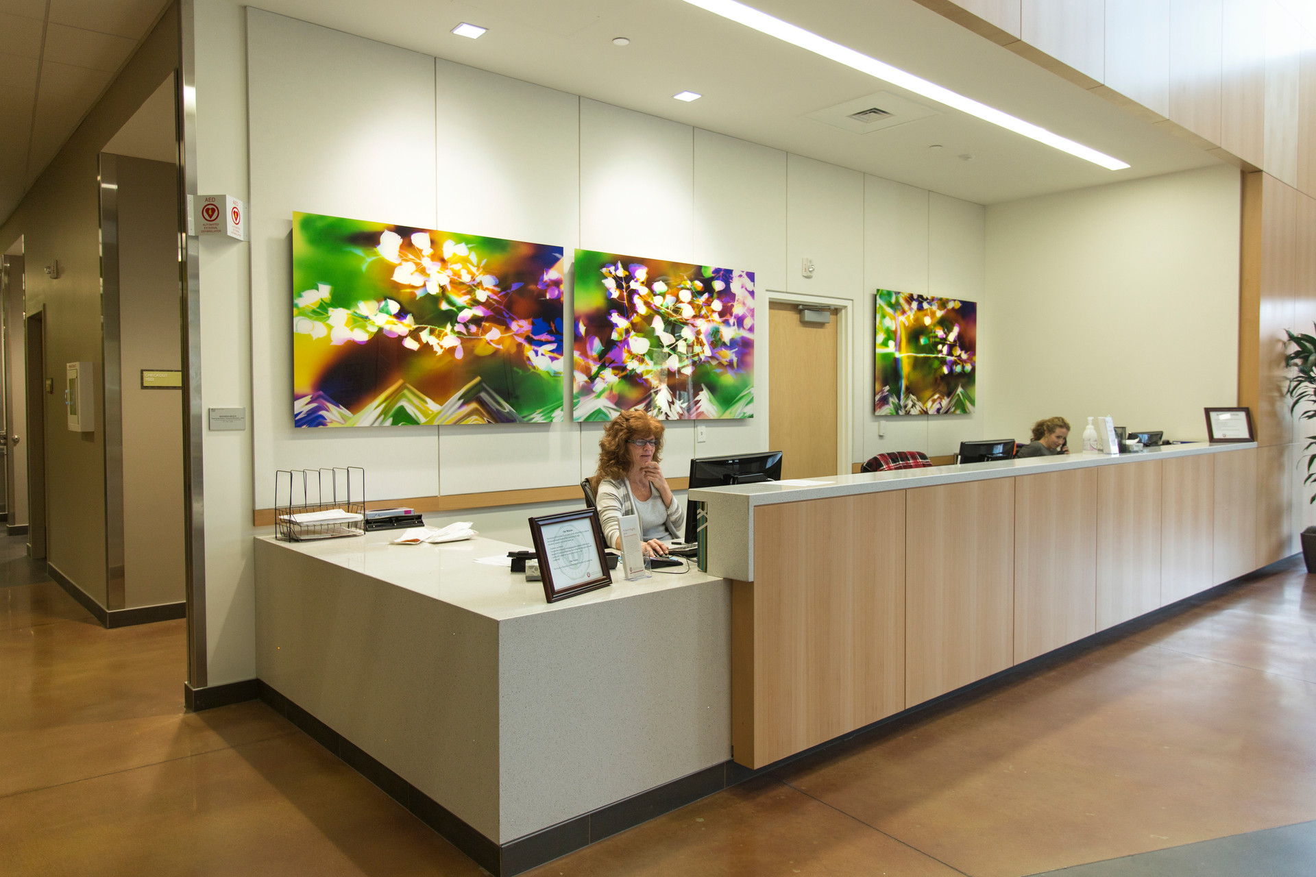 "Inspired by Nature: Harmony Mountains, 40"" x 180"" (3 40"" x 60"" panels), Commission by Utah Public Art Program, Installed in Noorda School of Dentistry at University of Utah, Salt Lake City, UT"