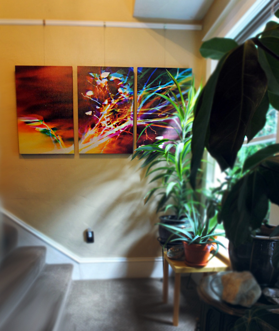 """Memento Mori, 30"""" x 60"""" (3 30"""" x 20"""" panels), Installed at Apas House Bed & Breakfast, Portland, OR"""