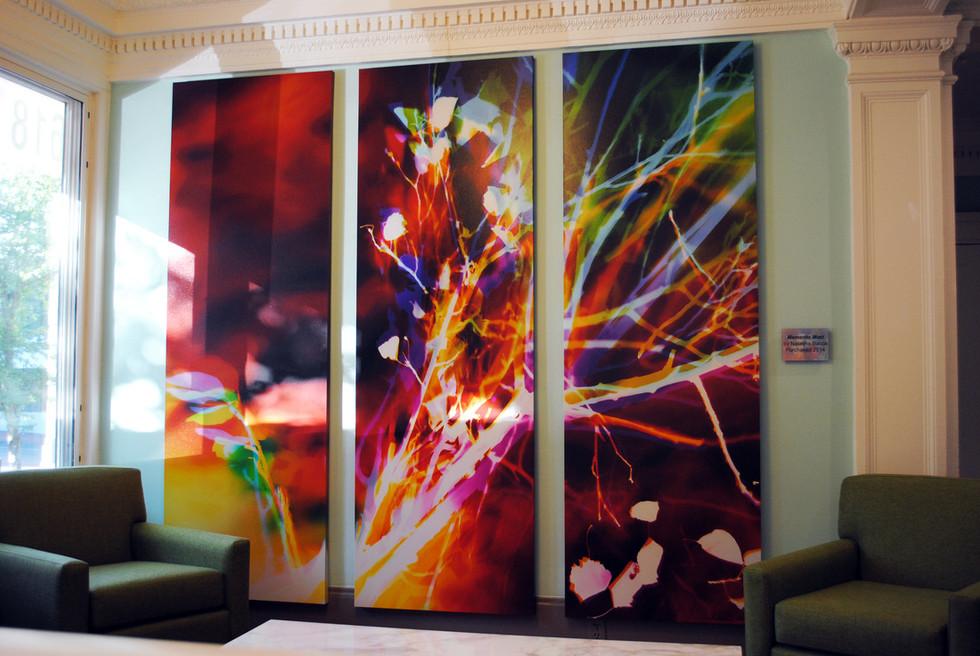 "Memento Mori, 90"" x 90"" (3 90"" x 30"" panels), Installed at The Arthur, Portland, OR"