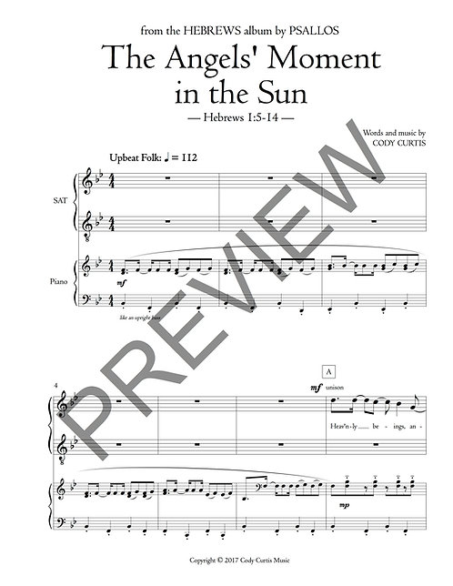 The Angels' Moment in the Sun (Choir SAT)