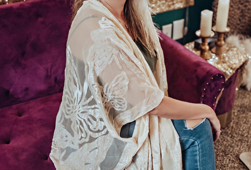 Velvet Burnout Kimono - Ivory Butterfly