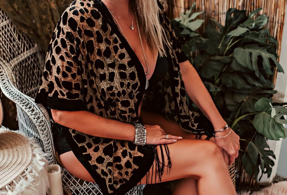 Velvet Burnout Kimono - Leopard