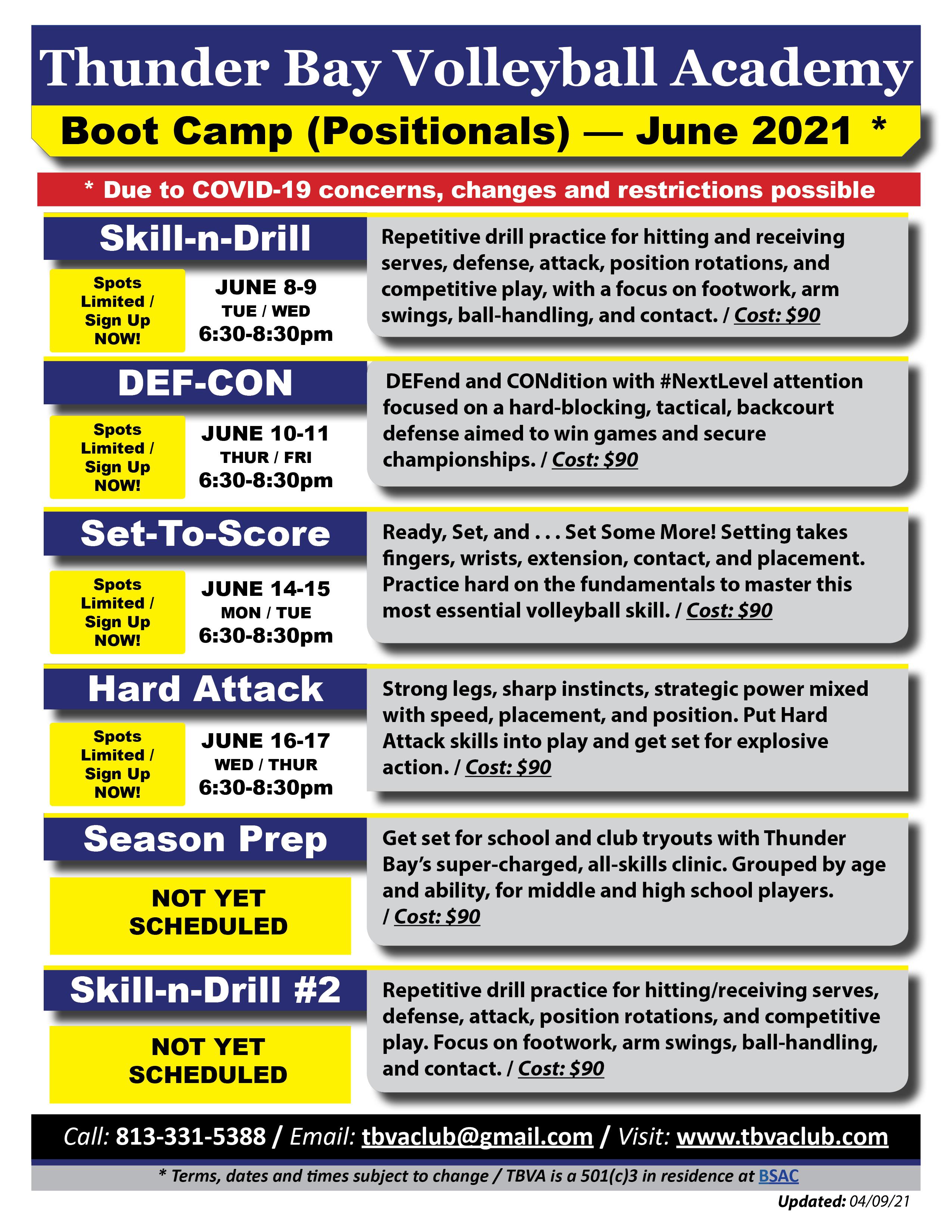 TBVA - 2021 Summer Boot Camps (June)