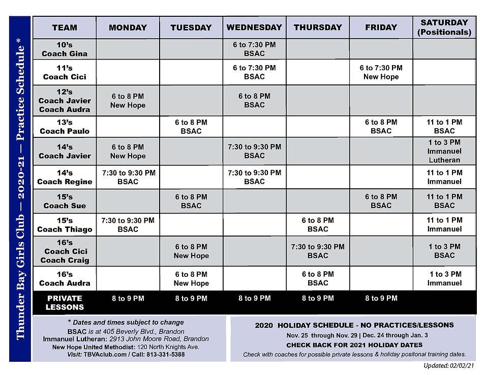 TBVA practice schedule (updated 2021-02-