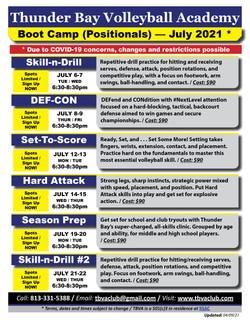 TBVA - 2021 Summer Boot Camps (July)