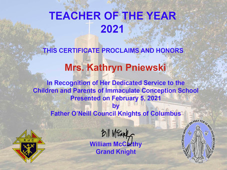 2021 ICS TEACHER OF THE YEAR