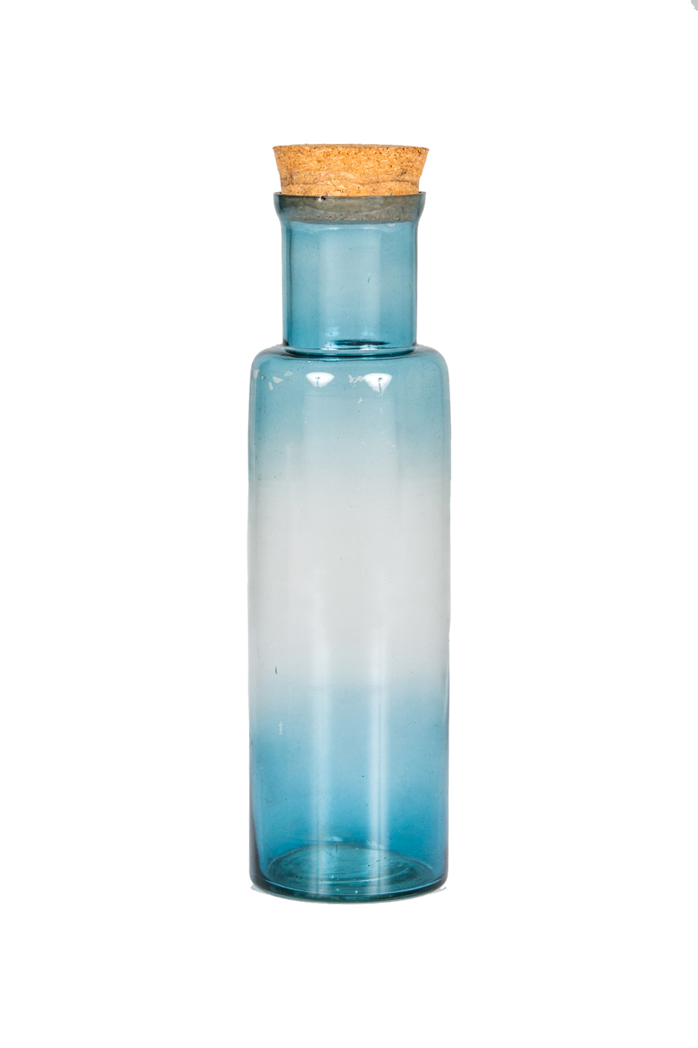 Blue water bottle with cork