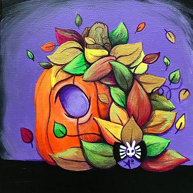 Spooky Lionhead Pumpking Painting