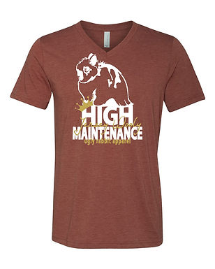 High Maintenance - Jersey Wooly Adult V-Neck Tee