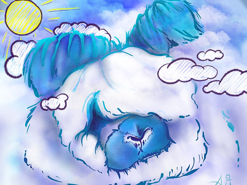 Cloudy - Broken English Angora Art Print