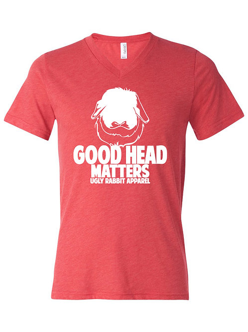 Good Head Matters - American Fuzzy Lop Adult V-Neck Tee