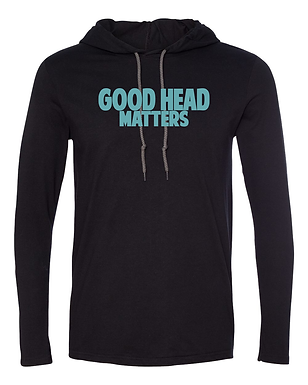 Good Head Matters - Jersey Wooly Adult Hooded Long Sleeve Tee