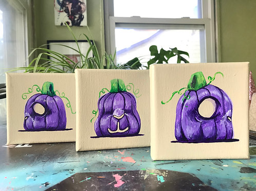 Spooky- Fall Netherland Dwarf Pumpkin Paintings