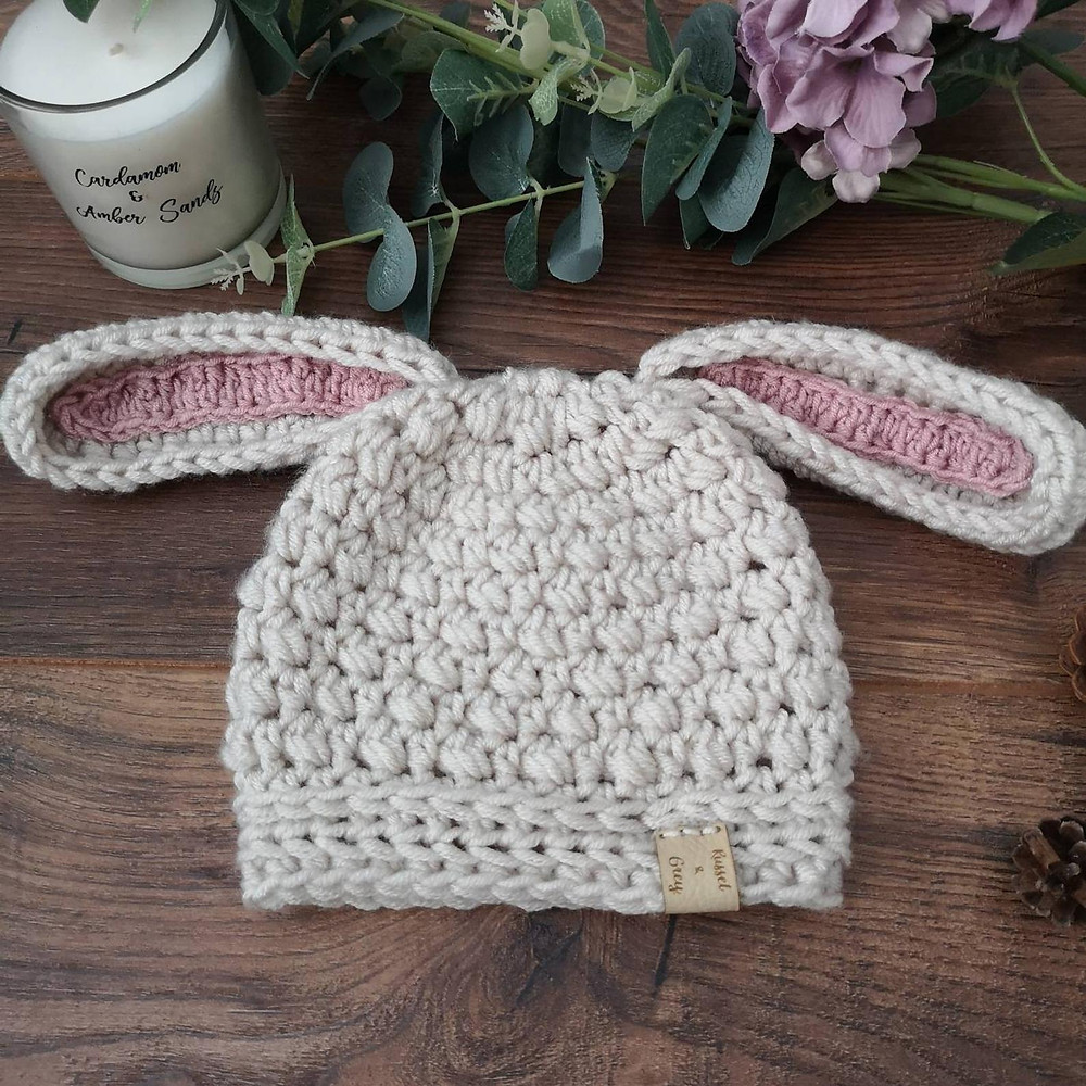 Russet and Grey Baby Bonnet Hat