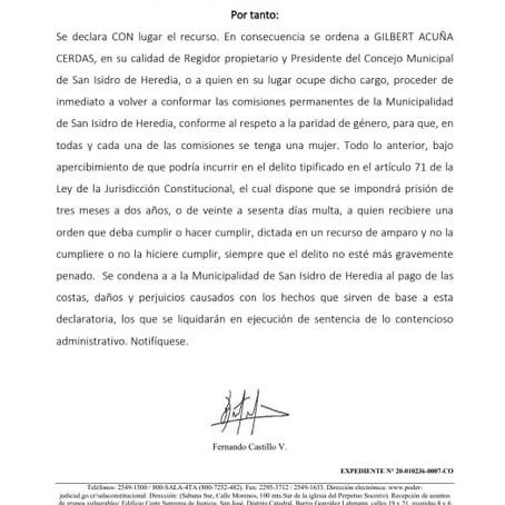 Sala IV ordena a Presidente Municipal de San Isidro de Heredia respetar paridad de género