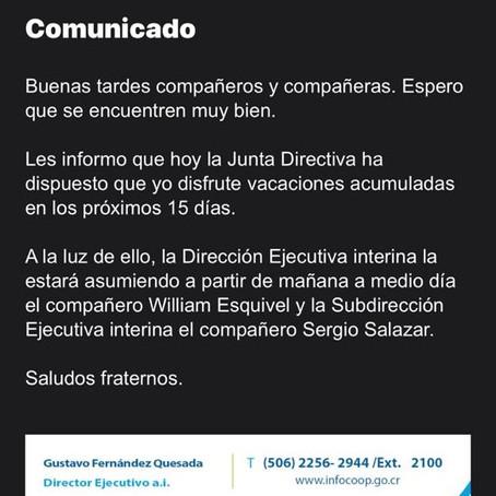 Junta Directiva de INFOCOOP da espaldarazo a su Director Ejecutivo y lo envía de vacaciones
