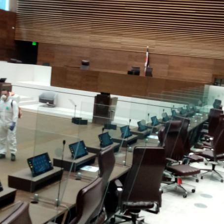 Nuevo edificio legislativo concluye con desinfección por Covid-19