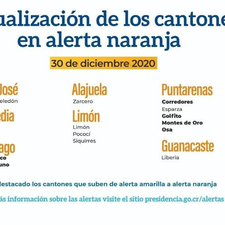15 cantones despiden el 2020 en Alerta Naranja por Covid-19