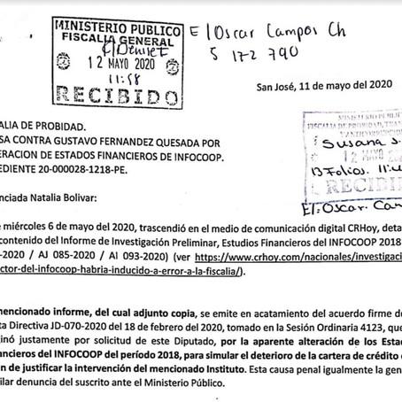 Piden a Fiscalía de Probidad secuestrar documentos claves del Infocoop contra Director
