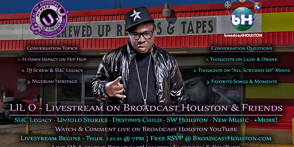 LIL O Livestream on DJ Screw & Screwed Up Click Legacy, Working w/ Destinys Child, H-Town History