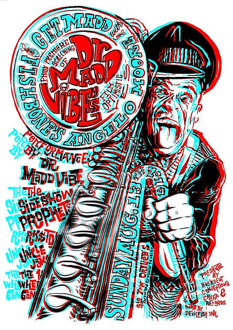 "Angelo Moore ""Dr. Mad Vibe"" 3-D Gig Poster"