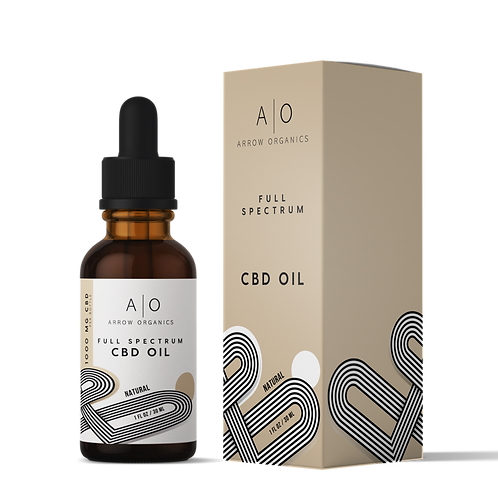 CBD Drops: Natural 1,000mg 20:1 CBD to THC ratio